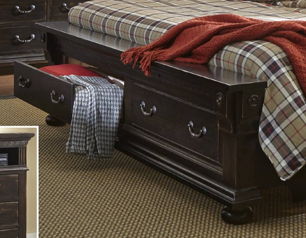 La Cantera Traditional Tobacco Solid Wood King Storage Footboard PRG-P665-95