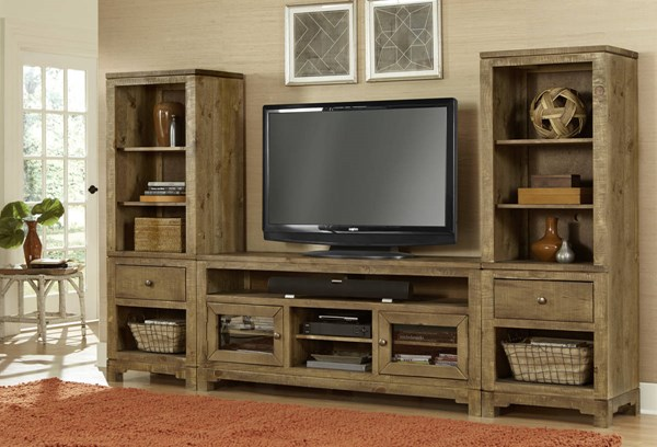 Braxton Gate Transitional Driftwood  Entertainment Center PRG-P703-ENT