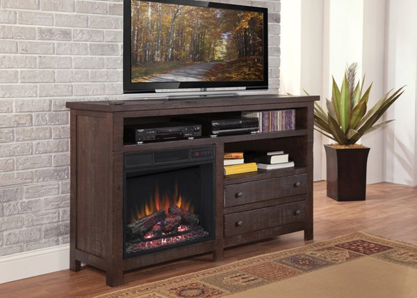 Tahoe Casual Mesquite Pine Wood 60 Inch Console w/Fireplace PRG-P785-60