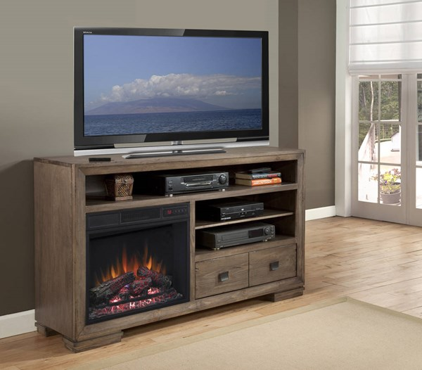 Mulholland Contemporary Antler Wood 60 Inch Console w/Fireplace PRG-P790-60
