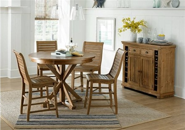 Willow Casual Distressed Pine Rubberwood 5pc Round Counter Height Set PRG-P808-15-BAR-S