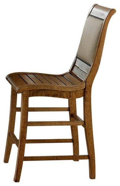 2 Willow Casual Distressed Pine Rubberwood Fabric Counter Chairs PRG-P808-64