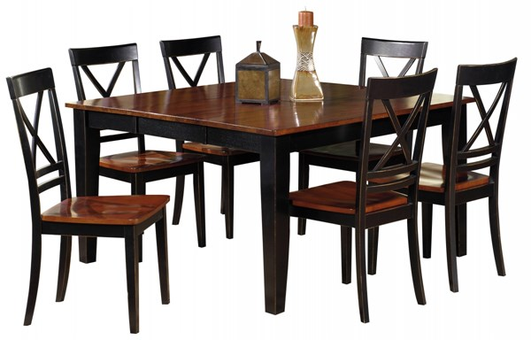 Cosmo Transitional Cherry Black Rubberwood Dining Room Set PRG-P809-DR