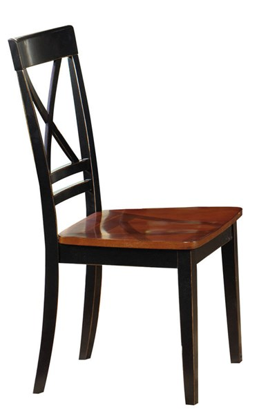 2 Cosmo Transitional Cherry Black Rubberwood Dining Chairs PRG-P809-61