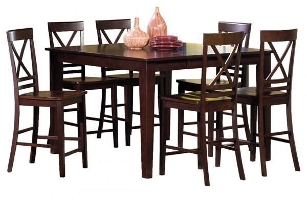 Winston Transitional Espresso Rubberwood 7pc Counter Dining Room Set PRG-P810-12TB-63