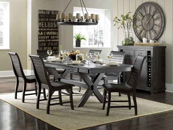Willow Casual Distressed Black Rubberwood 7pc Counter Height Set PRG-P812-12-BAR-S