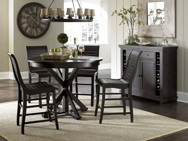 Willow Casual Distressed Black Rubberwood 5pc Counter Height Set PRG-P812-15-BAR-S