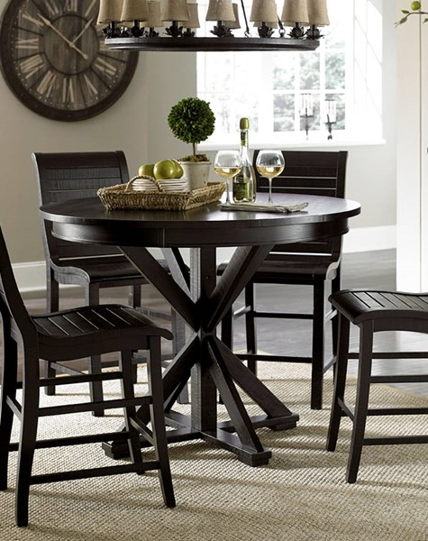 Willow Casual Distressed Black Rubberwood Round Counter Base PRG-P812-15B