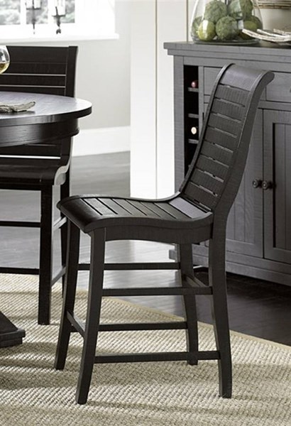 2 Willow Casual Distressed Black Wood Counter Chairs PRG-P812-63