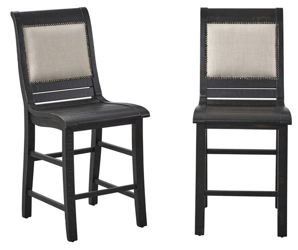 2 Progressive Furniture Willow Black Counter Upholstere Chairs PRG-P812-64