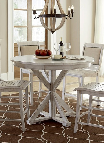 Progressive Furniture Willow Distressed White Round Counter Table PRG-P820-15B-15T