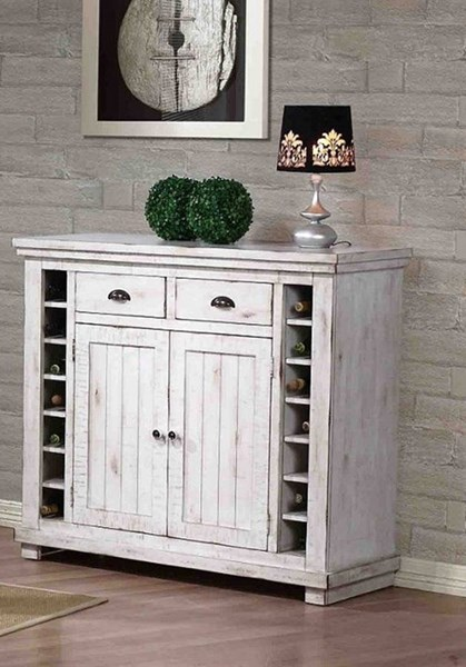 Willow Casual Distressed White Rubberwood Server PRG-P820-56