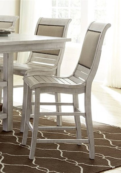 2 Willow Casual Distressed White Rubberwood Fabric Counter Chairs PRG-P820-64