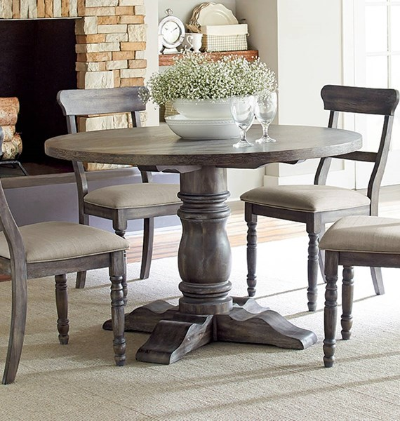 Muses Transitional Dove Grey Rubberwood Round Dining Base PRG-P836-13B