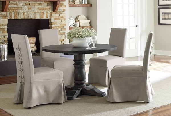 Progressive Furniture Muses Dove Grey 5pc Dining Set with Parson Chairs PRG-P836-DR-S2