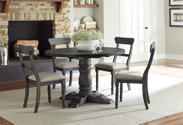 Progressive Furniture Muses Dove Grey 5pc Dining Set with Ladder Back Chair PRG-P836-DR-S1