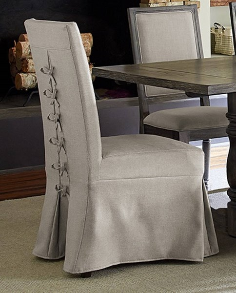 2 Muses Transitional Dove Grey Rubberwood Upholster Parsons Chairs PRG-P836-60