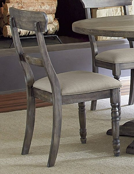 2 Muses Transitional Dove Grey Rubberwood Ladderback Chairs PRG-P836-61