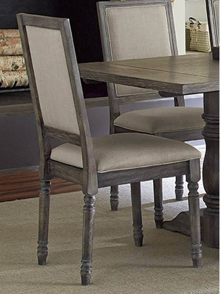 2 Muses Transitional Dove Grey Rubberwood Upholster Back Chairs PRG-P836-65