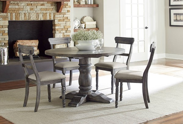 Muses Transitional Dove Grey Rubberwood Dining Room Set PRG-P836-DR