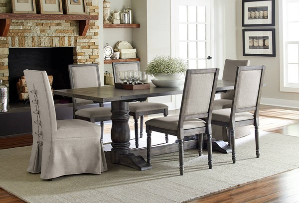 Muses Dove Grey Rubberwood 7pc Dining Room Set w/Parson Chairs PRG-P836-DR-S4