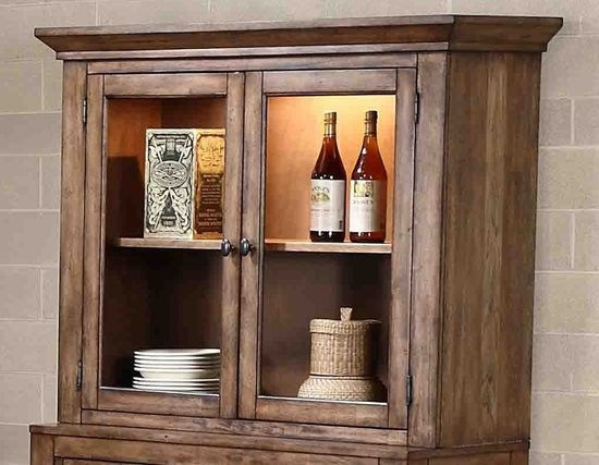 Boulder Creek Transitional Pecan Veneer Rubberwood MDF Hutch PRG-P849-82