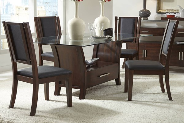 Avalon Transitional Sable Solidwood Glass 5pc Dining Room Set PRG-P884-DR-S