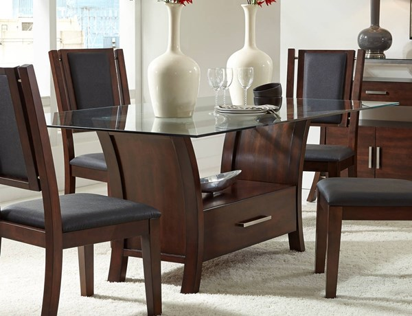 Avalon Transitional Sable Solidwood Glass Dining Table PRG-P884-10B-10F-10T