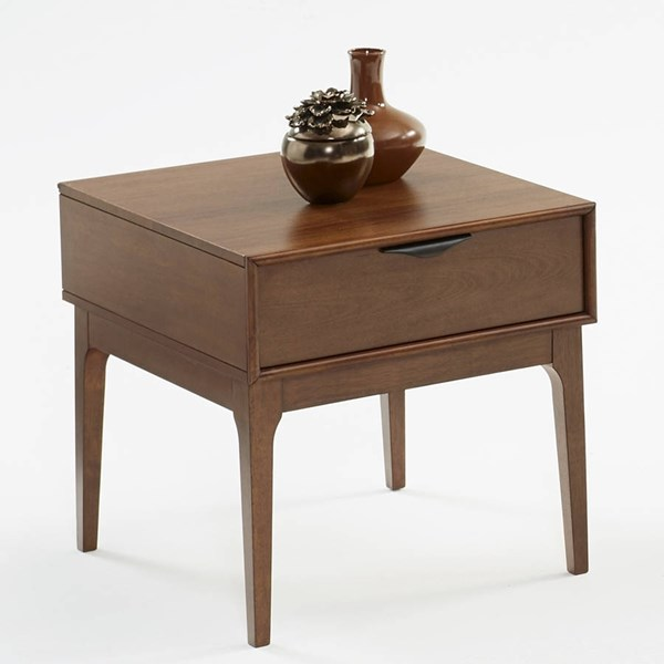 Mid-Mod Transitional Cinnamon Solidwood End Table PRG-T106-04