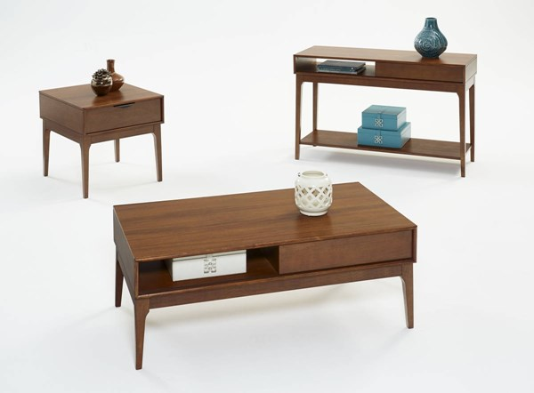 Mid-Mod Transitional Cinnamon Solidwood 3pc Coffee Table Set PRG-E106-OCT-S