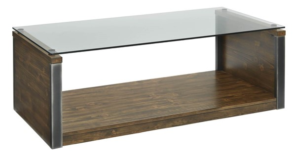 Progressive Furniture Midtown Brown Glass Top Cocktail Table PRG-T316-01