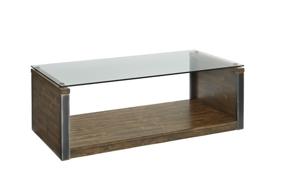 Progressive Furniture Midtown Toffee Glass Cocktail Table PRG-T316-01