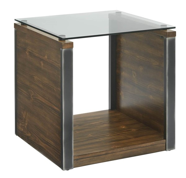 Progressive Furniture Midtown Brown Glass Top End Table PRG-T316-04