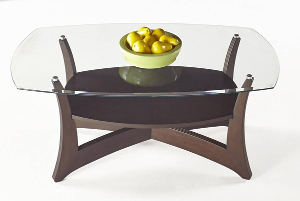 Abacoa Contemporary Dark Walnut Wood Glass Rectangular Cocktail Table PRG-T331-01