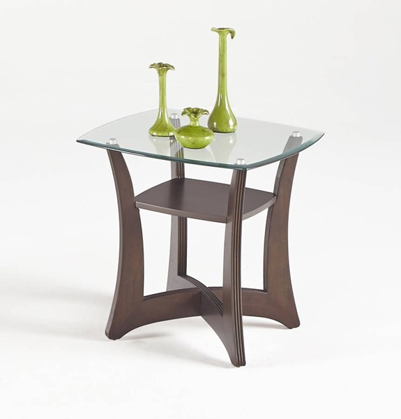 Abacoa Contemporary Dark Walnut Wood Glass Square Lamp Table PRG-T331-02