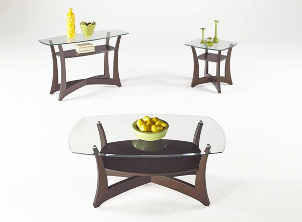 Abacoa Contemporary Dark Walnut Wood Glass Coffee Table Set PRG-T331-OCT