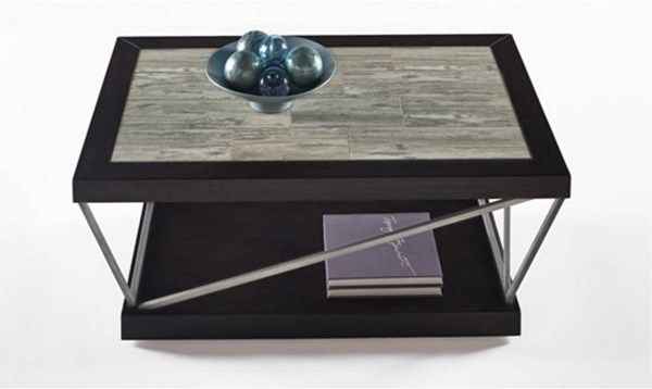 East Bay Contemporary Woodtone Tile Metal Rectangular Cocktail Table PRG-T370-01