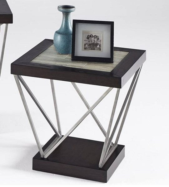 East Bay Contemporary Woodtone Tile Metal Rectangular End Table PRG-T370-04