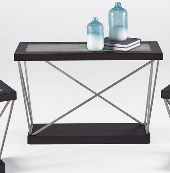 East Bay Contemporary Woodtone Tile Metal Sofa Console Table PRG-T370-05