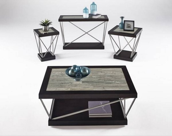 East Bay Contemporary Woodtone Tile Metal 3pc Coffee Table Set PRG-T370-OCT-S