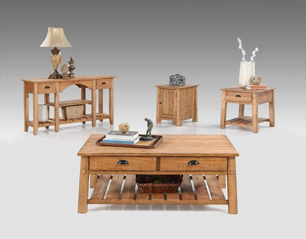 Willow Rustic Distressed Pine Solidwood 3pc Coffee Table Set PRG-T408-OCT-S1