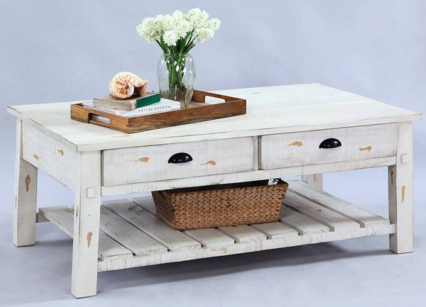 Progressive Furniture Willow Distressed White Rectangular Cocktail Table PRG-T410-01
