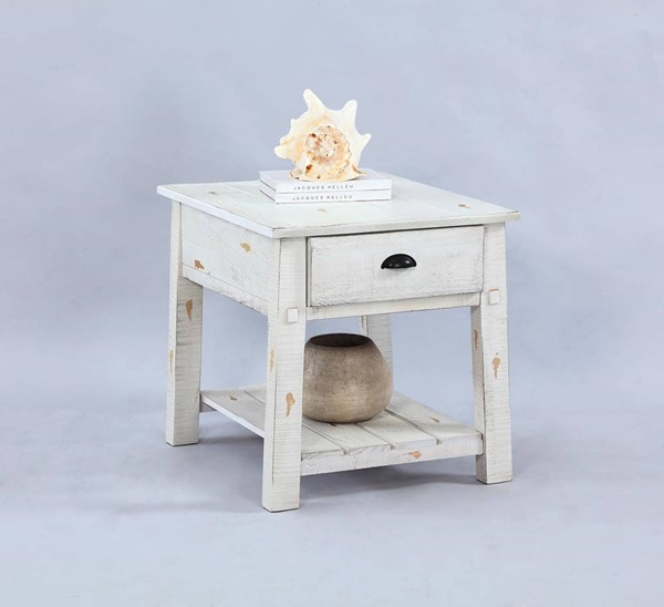Willow Rustic Distressed White Solidwood Rectangular End Table PRG-T410-04