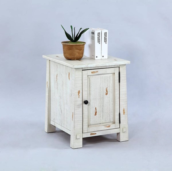 Willow Rustic Distressed White Solidwood Chairside Cabinet PRG-T410-29