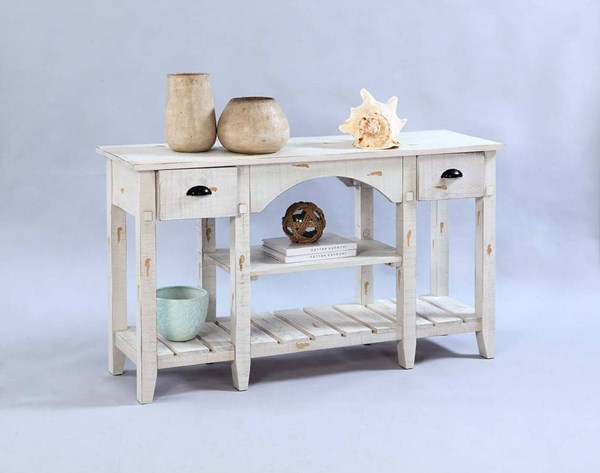 Willow Rustic Distressed White Solidwood Console Table PRG-T410-55