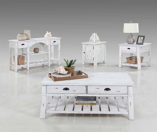 Willow Rustic Distressed White Solidwood 3pc Coffee Table Set PRG-T408-OCT-S2