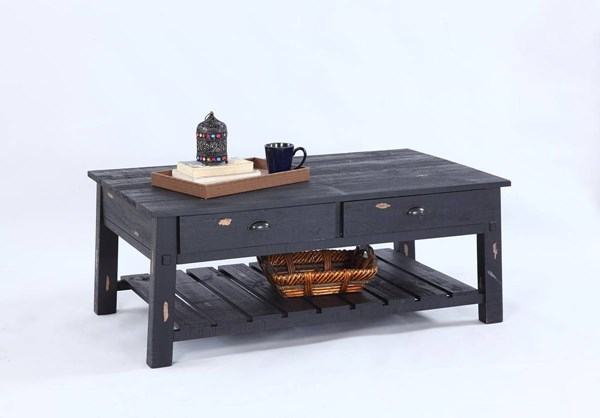 Willow Rustic Distressed Black Solidwood Rectangular Cocktail Table PRG-T412-01