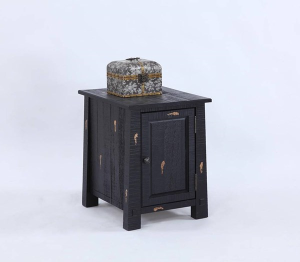 Willow Rustic Distressed Black Solidwood Chairside Cabinet PRG-T412-29