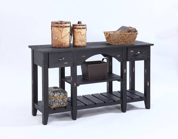 Willow Rustic Distressed Black Solidwood Console Table PRG-T412-55