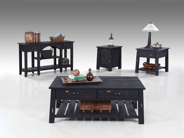 Willow Rustic Distressed Black Solidwood 3pc Coffee Table Set PRG-T408-OCT-S3